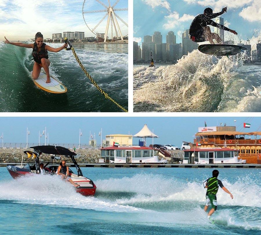 Wakeboarding and wakesurfing in Dubai