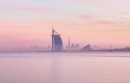 Sunrise on board a yacht in Dubai